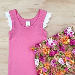 Size 6-8 Flutter Singlet - Girls top - Pink - Lace Sleeves