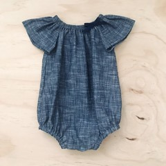 Size 2 - Romper - Cotton - Denim look - Navy - White -