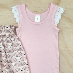 Size 3-4 - Flutter Singlet - Girls top - Pale Pink - Lace Sleeves