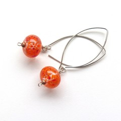 Orange dots glass and sterling silver dangle earrings