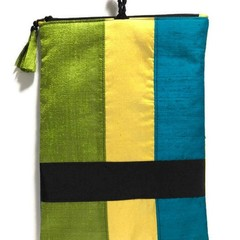 Colourful Silk Purse, Fold-Over Clutch, Vintage Silk Clasp, Elegant Zipper Purse