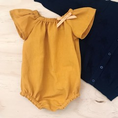Size 1 -  Romper - Mustard  - Cotton - Baby Girls - Retro -