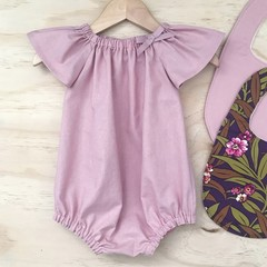 Size 00 - Romper - Dusty Pink - Cotton - Baby Girls - Retro