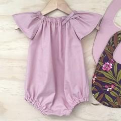 Size 00 - Romper - Dusty Pink - Cotton - Baby Girls - Retro
