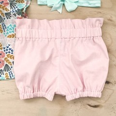 Size 2 Bubble Shorties - Baby Pink - Cotton - Bloomers - Girl -