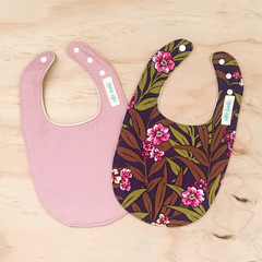 Set of 2 Bibs - Plum Floral - Dusty Pink - Mustard - Retro