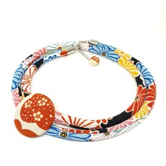 Kimono Cord Necklace Blue and Red Florals