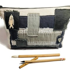 Linen Zipper Bag Neutral Tones, Patchwork Clutch, Boro inspired patchwork Pouch