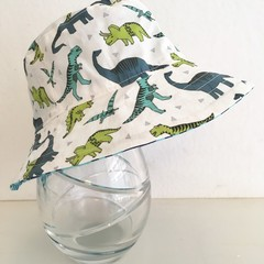 Boys summer hat in blue & green dino fabric