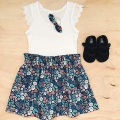 Size 5 - High Waist Skirt - Cotton - Blue - organic- floral