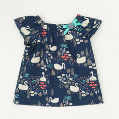 Size 00 - Smock Top - Swans - Navy - Retro - Organic Cotton -