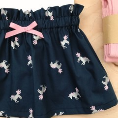 Size 5 - Skirt - Navy - Metallic Unicorns - Cotton - High Waist