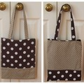 Handy Tote Bag - Chocolate Dots - Totally Reversible