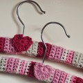 Child's Size Covered Coat Hangers with Hearts - Set of 2