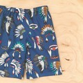 Size 5 - Shorts - Indian Head Dress - Cherokee - Cotton - Blue - Feathers