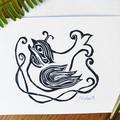 Handprinted Bird Greeting Card - Sacred Bird - Original Lino Print