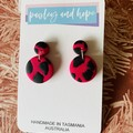 Black & pink polymer clay dangles - Mini