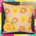 Daisies In Pink Organic Linen Cushion with Recycled Insert