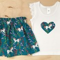 Size 3 -  Skirt - Teal Unicorns - Retro - Bright - Girls - Cotton