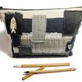 Linen Zipper Bag Neutral Tones, Patchwork Clutch, Boro inspired patchwork Pouch