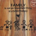 Personalised Etched Timber Acacia Boards - Stick Figure & Silhoutte Family