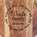 Personalised Etched Timber Acacia Boards - Surrounded By Family Design