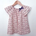 Size 3 - Smock Top - Sea Shells - Pink - Navy - Organic Cotton