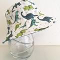 Boys summer hat in blue & green dino fabric