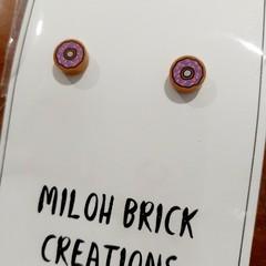Teeny Round Bakery Food Picture Brick Stud Earrings