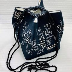 Drawstring Bag with Sashiko Hand Embroidery, Vintage Japanese Silk Satchel