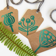 Handprinted Botanical Gift Tags - Seed Pods - Green - Set of  3