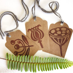 Handprinted Botanical Gift Tags - Seed Pods - Natures Art - Set of  3