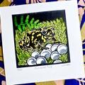 Australian Corroboree Frog Lino Cut Print / Frog Print / Australian Frog