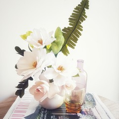 White Rose Beauty || crepe paper flowers, flower arrangements, home decor.