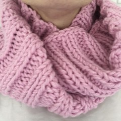 Knitted pink infinity scarf merino wool cowl