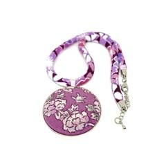 Kimono Necklace/Pendant -  Purple Florals