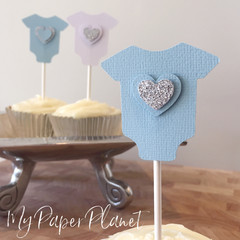 Blue Baby Shower Cupcake Toppers - baby bodysuit romper shape with hearts.