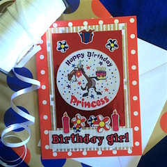 'Happy Birthday Princess' Red Birthday Card for a Girl