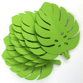 Tropical Leaf shapes. Green safari or jungle party monstera leaf. Green leaves.