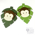 Little Monkey Gift Tags - Green Leaf gift tags. Baby shower, first birthday.