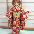 Doll Clothes Japanese kimono for 23cm doll Azone Pureneemo body size S handmade