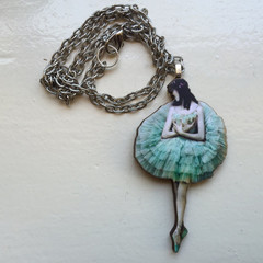 Wooden ballerina with green tutu pendant necklace