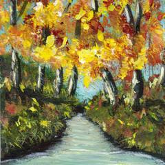 Autumn River ACEO, Miniature Painting, Original Landscape acrylic painting,