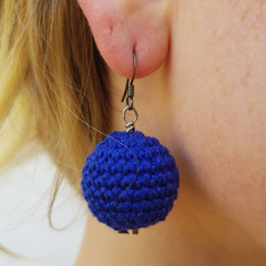 Blue crochet style ball drop earrings