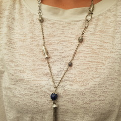 Silver necklace of different chains and blue lapis