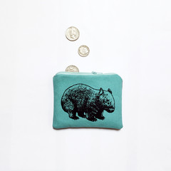 Screen printed wombat coin purse