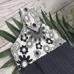 Button Fabric Hand Towel - Black and White Flowers