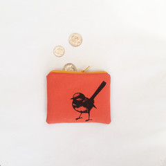 Screen printed Fairy wren coin purse