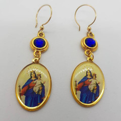 Gold plated  Mother Mary and blue Swarovski crystal earrings, gold plated hooks