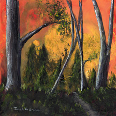Sunset Forest,  Original Landscape Painting, Original Acrylic Painting